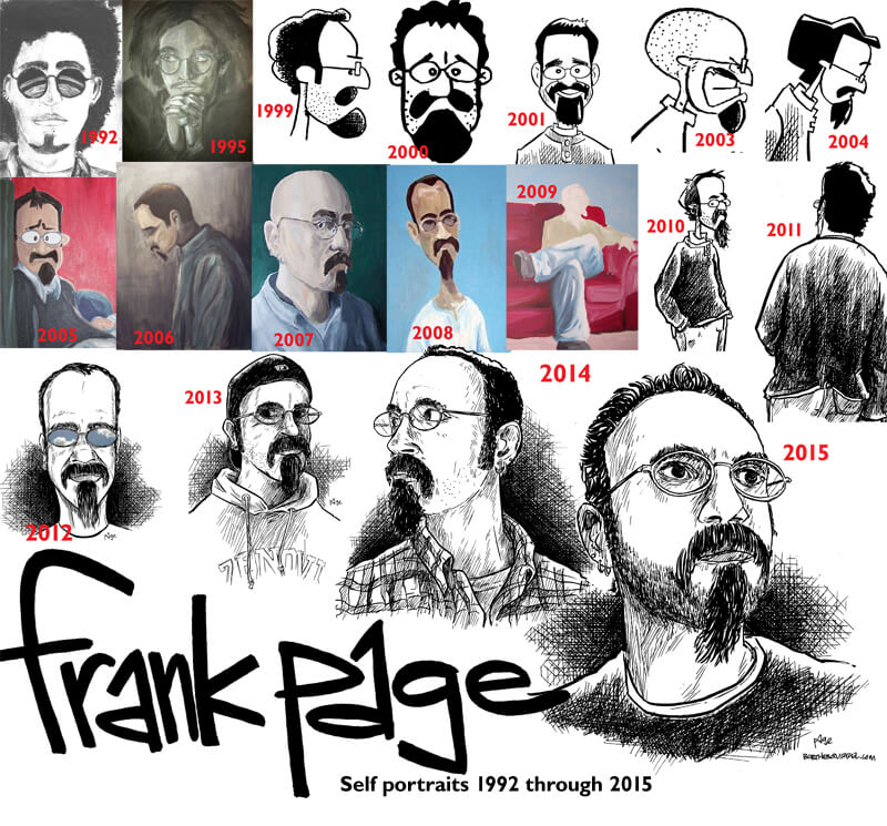 23 years of self-portraits by Cartoonist Frank Page