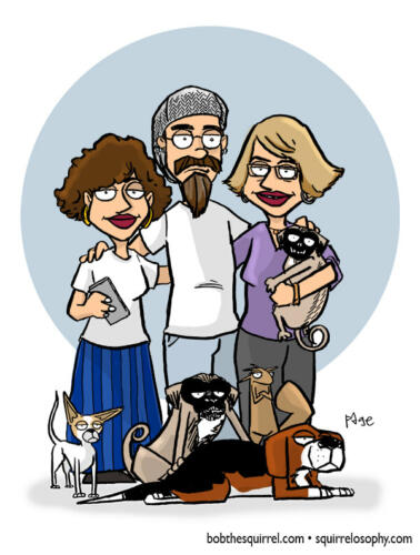 My family drawn in the style of the show Family Guy