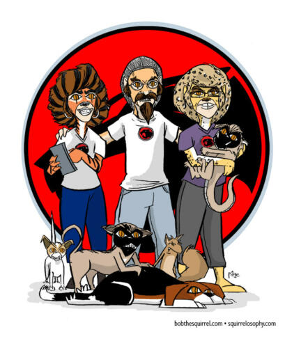 family drawn in the style of THE THUNDERCATS